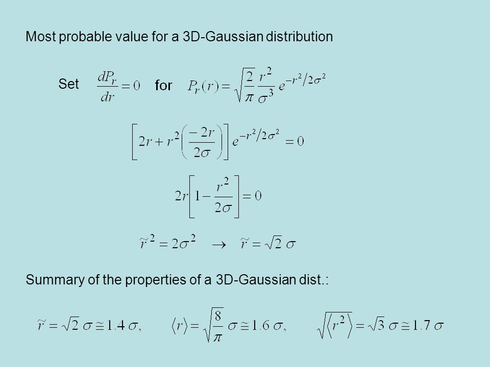 Most probable value for a 3D-Gaussian distribution