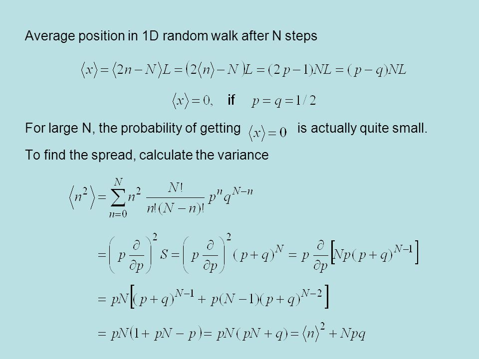 Average position in 1D random walk after N steps