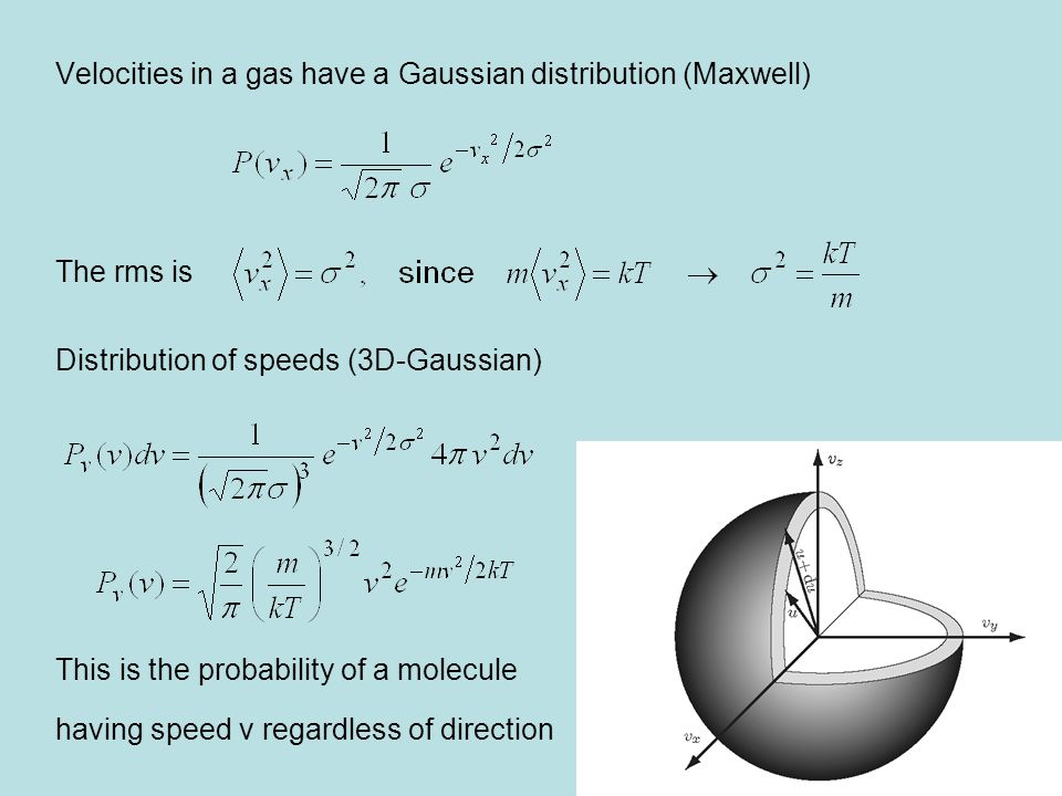 Velocities in a gas have a Gaussian distribution (Maxwell)
