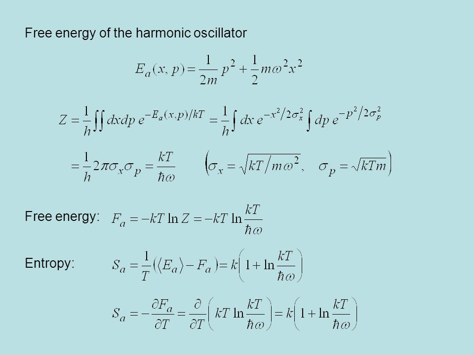 Free energy of the harmonic oscillator