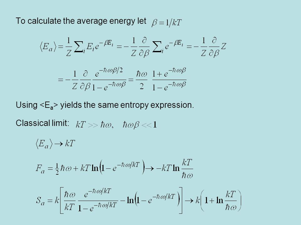 To calculate the average energy let