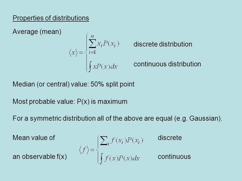 Properties of distributions