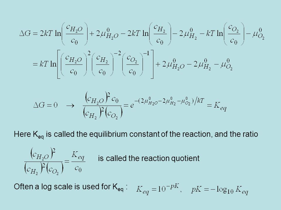 Here Keq is called the equilibrium constant of the reaction, and the ratio