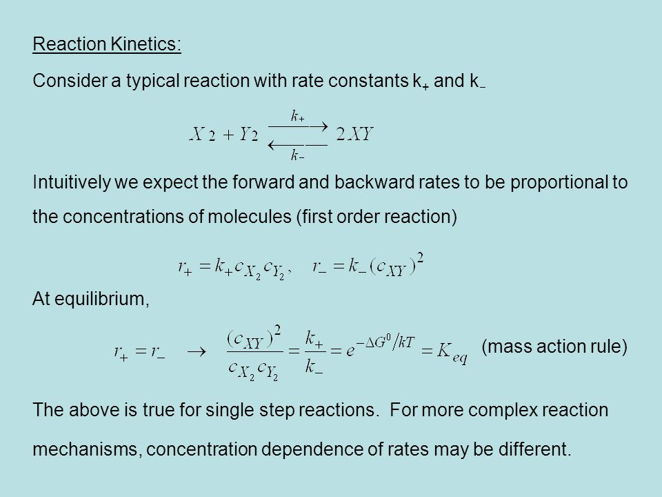Reaction Kinetics: Consider a typical reaction with rate constants k+ and k-