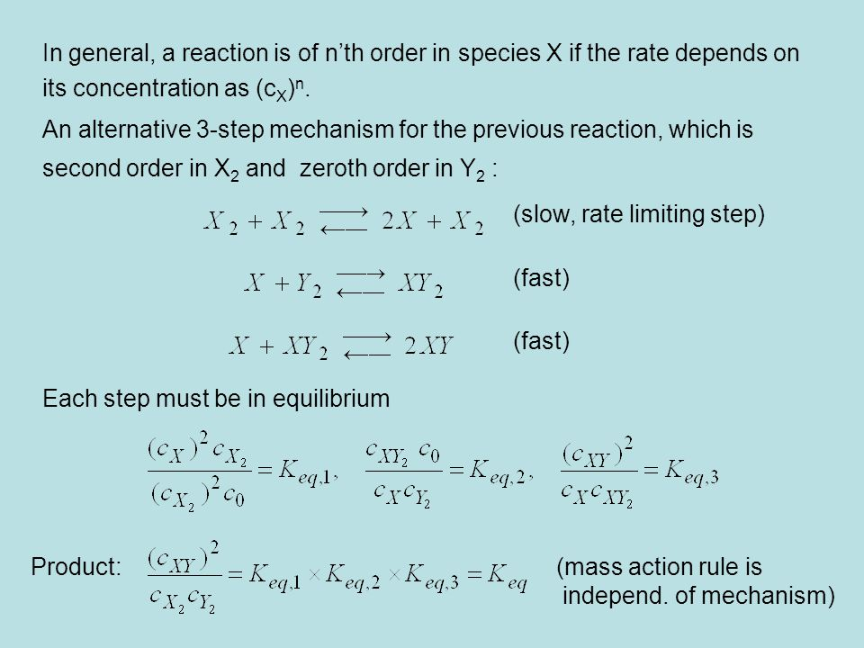 In general, a reaction is of n'th order in species X if the rate depends on