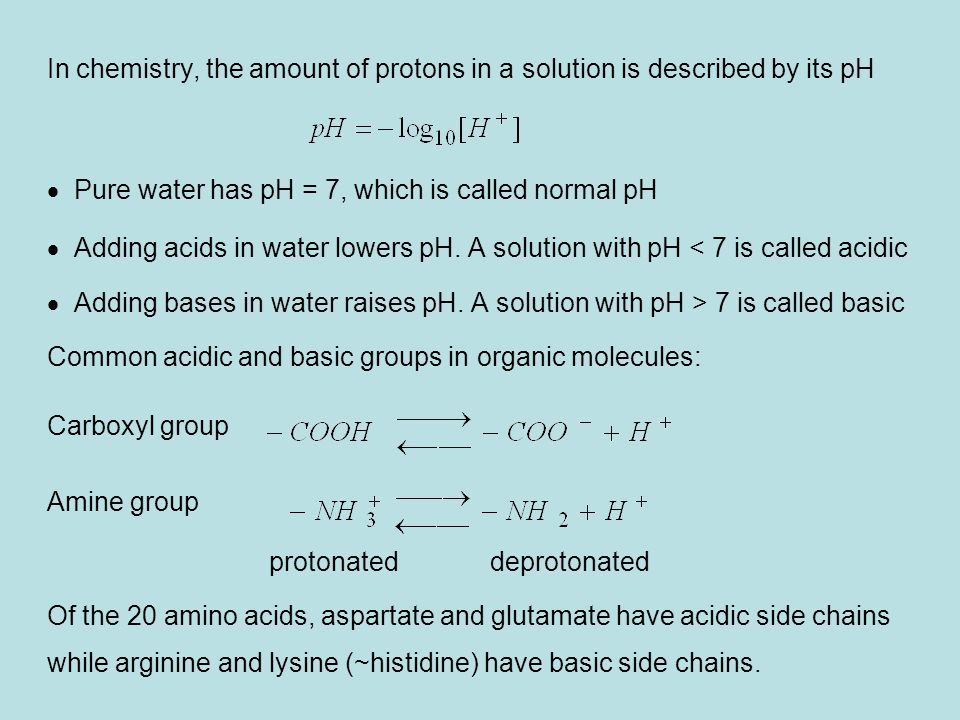 In chemistry, the amount of protons in a solution is described by its pH