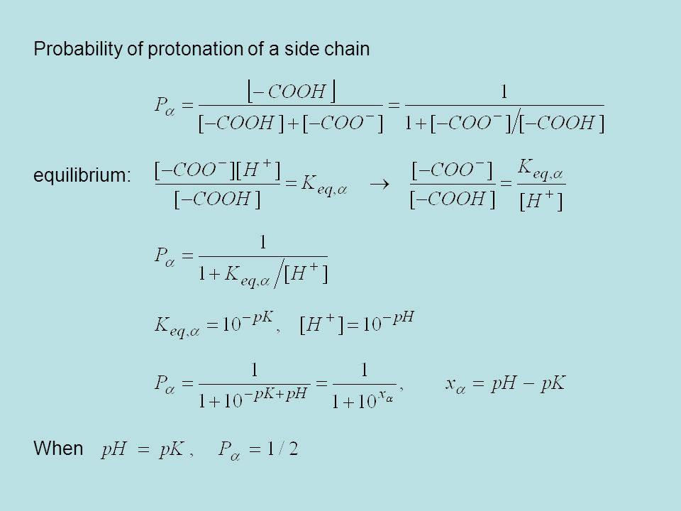 Probability of protonation of a side chain