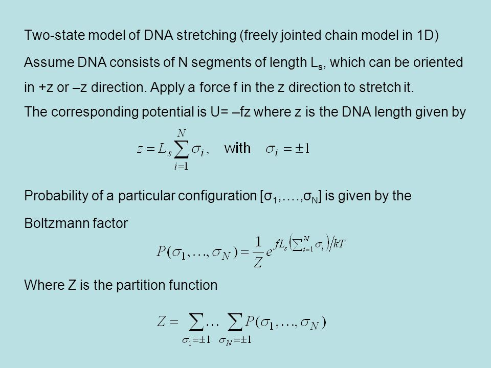 Two-state model of DNA stretching (freely jointed chain model in 1D)