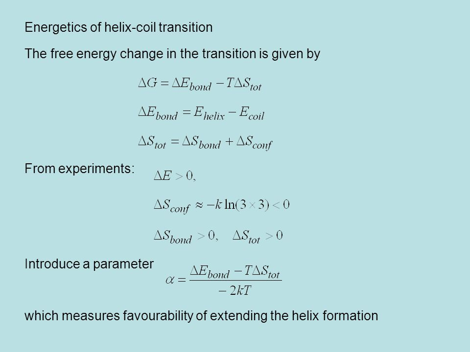 Energetics of helix-coil transition