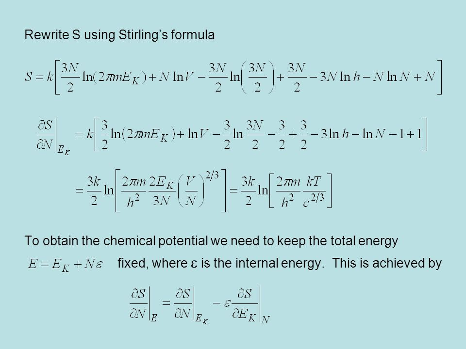 Rewrite S using Stirling's formula