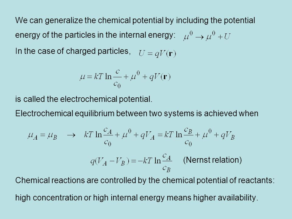 We can generalize the chemical potential by including the potential