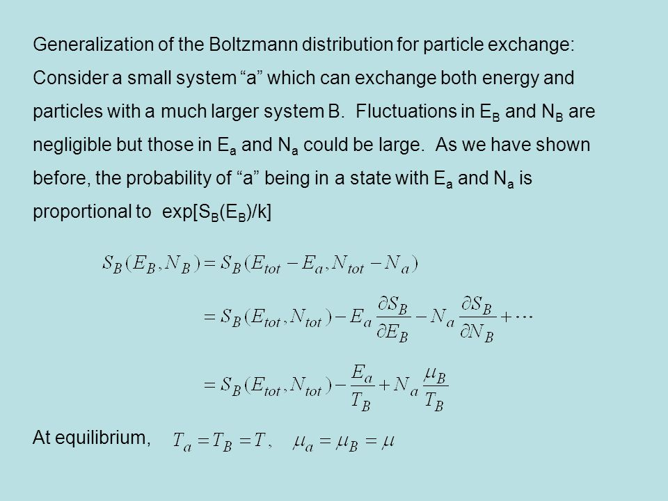 Generalization of the Boltzmann distribution for particle exchange: