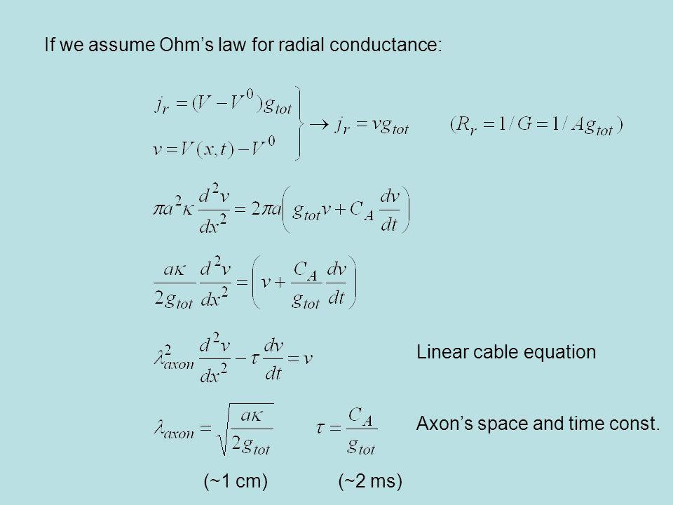 If we assume Ohm's law for radial conductance: