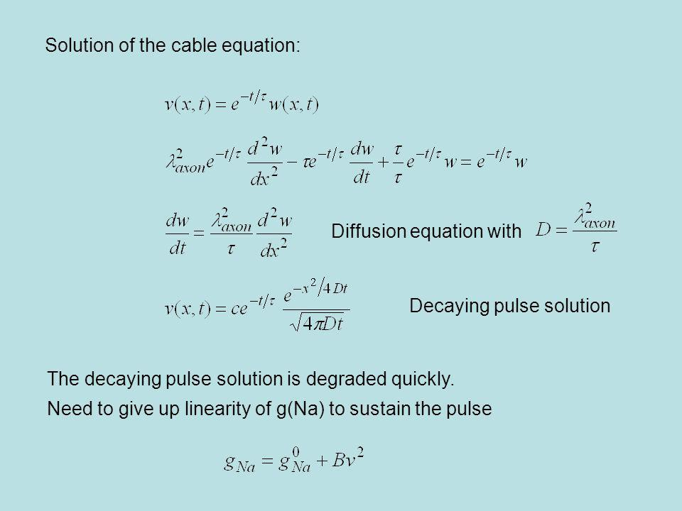 Solution of the cable equation: