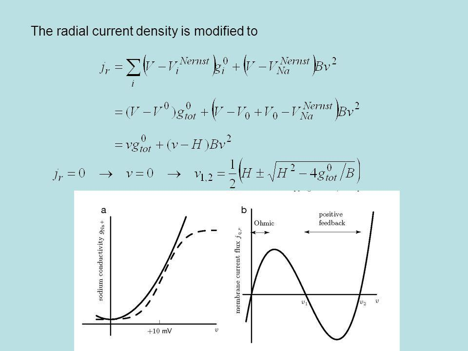 The radial current density is modified to