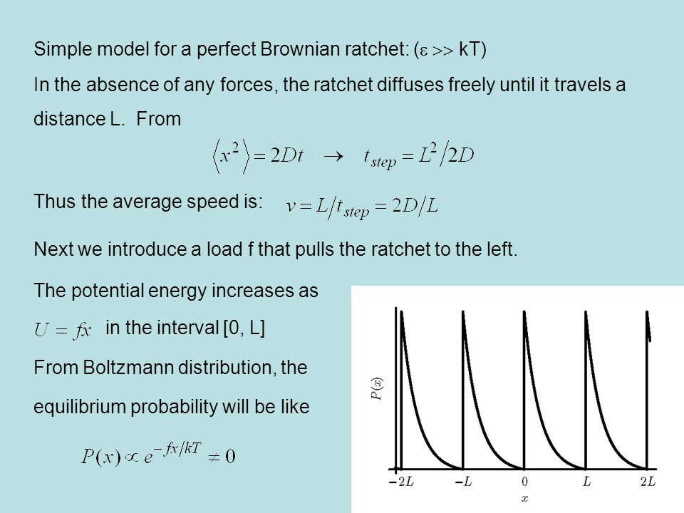 Simple model for a perfect Brownian ratchet: (e >> kT)