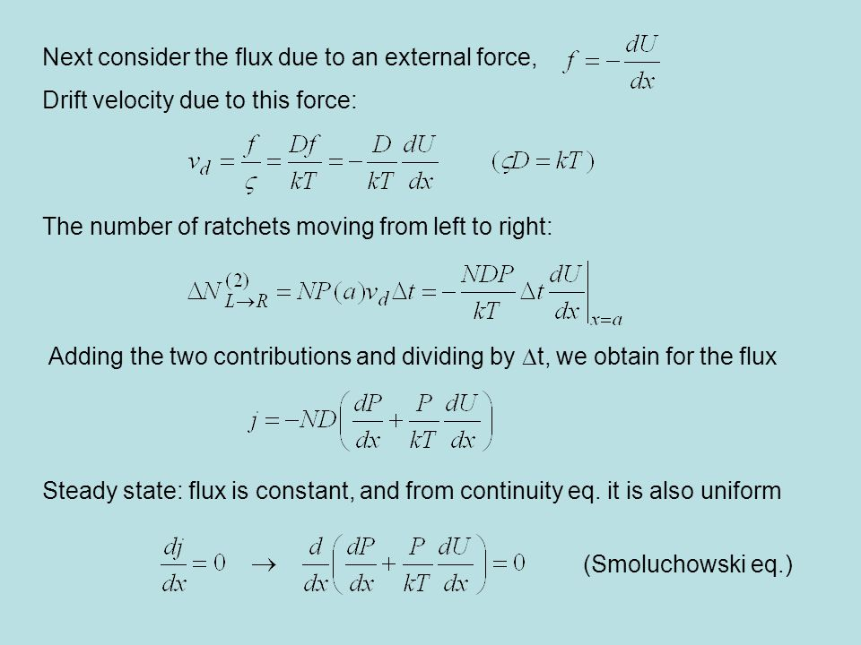 Next consider the flux due to an external force,