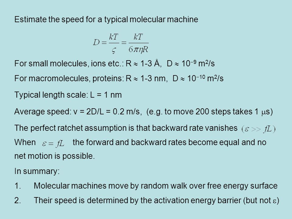 Estimate the speed for a typical molecular machine