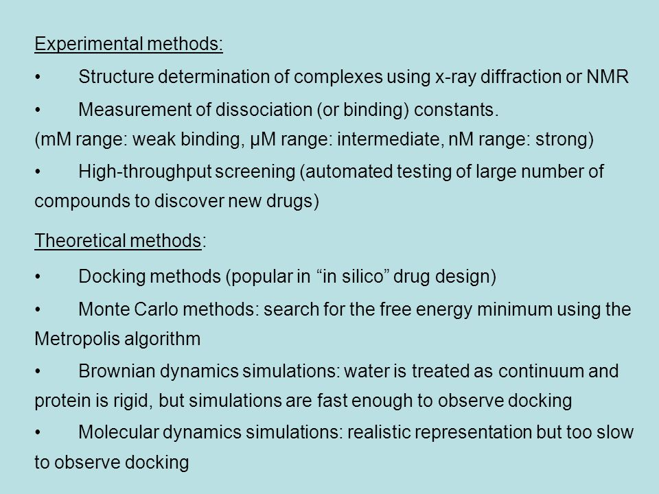 Experimental methods: