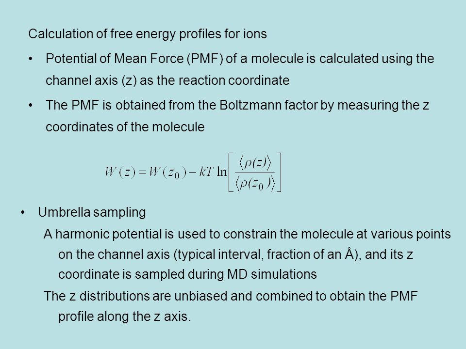 Calculation of free energy profiles for ions