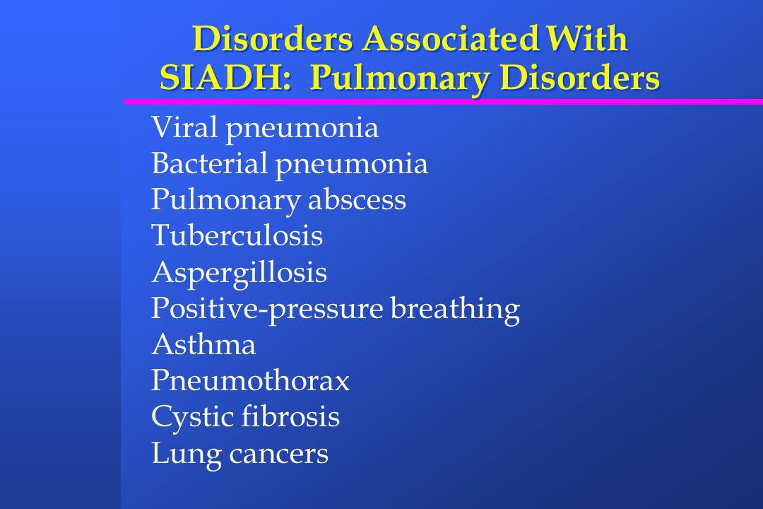 Disorders Associated With SIADH: Pulmonary Disorders