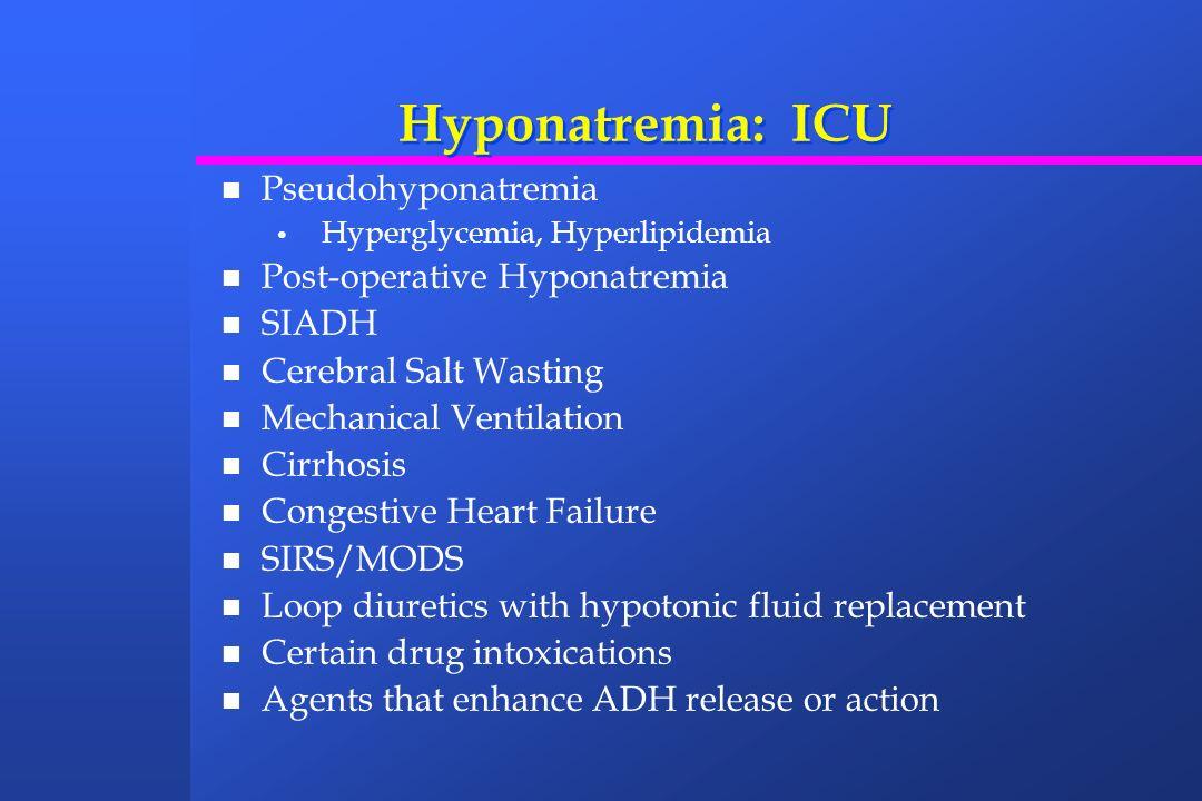 Hyponatremia: ICU Pseudohyponatremia Post-operative Hyponatremia SIADH