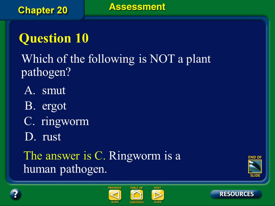 Question 10 Which of the following is NOT a plant pathogen A. smut