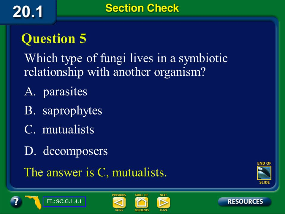 Question 5 Which type of fungi lives in a symbiotic relationship with another organism A. parasites.