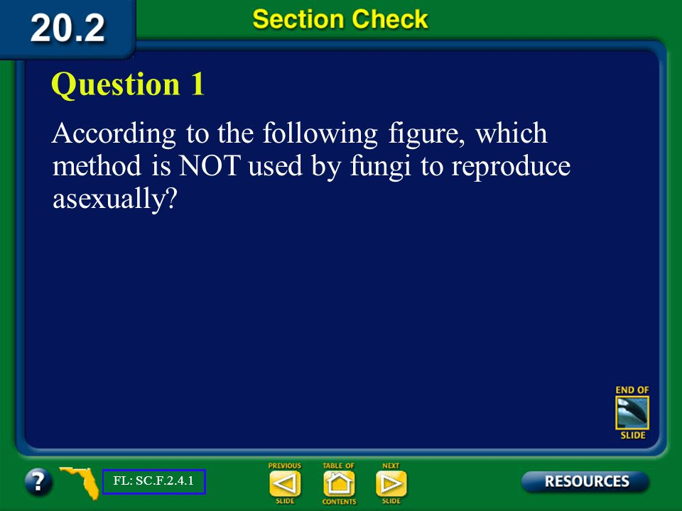 Question 1 According to the following figure, which method is NOT used by fungi to reproduce asexually
