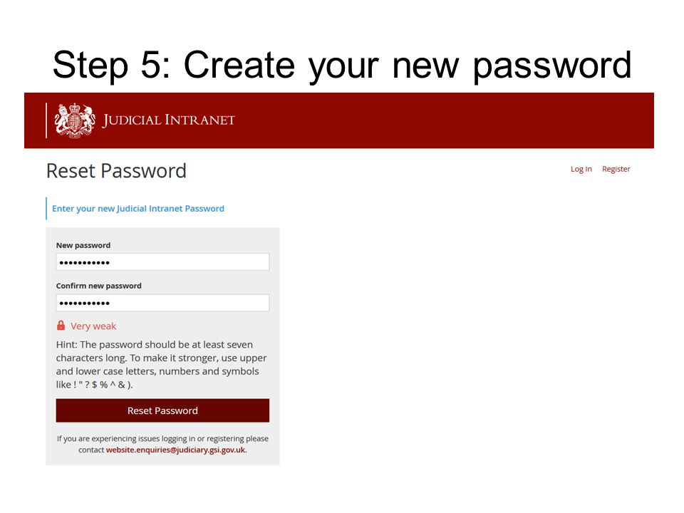 Step 5: Create your new password