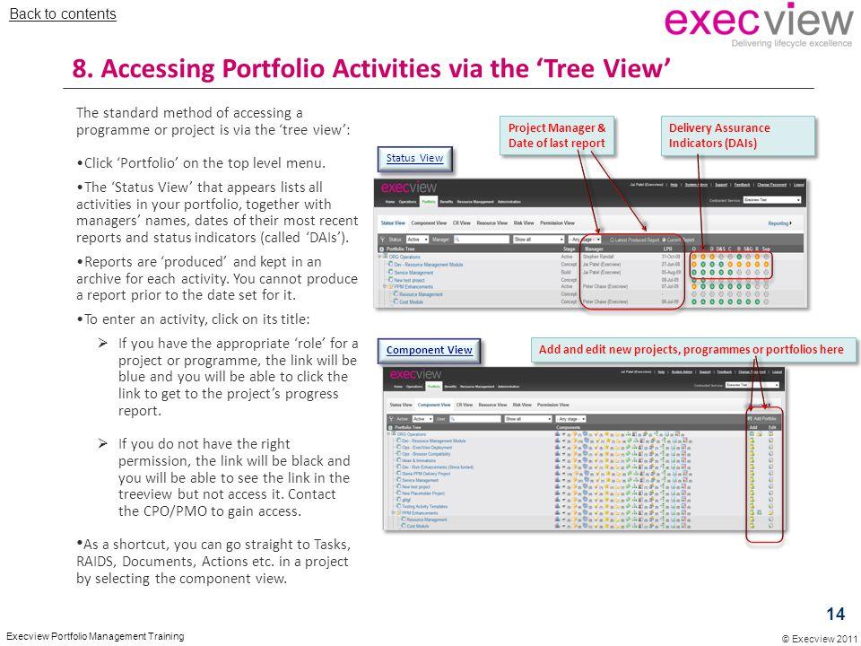 8. Accessing Portfolio Activities via the 'Tree View'