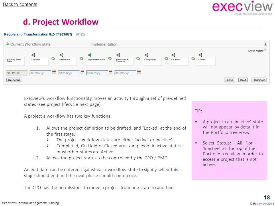 Back to contents d. Project Workflow.