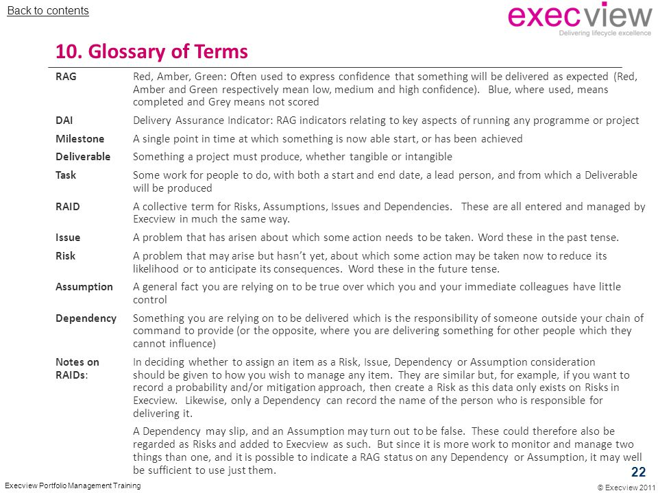 Back to contents 10. Glossary of Terms.