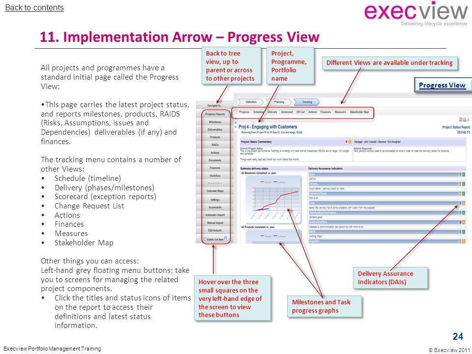 11. Implementation Arrow – Progress View