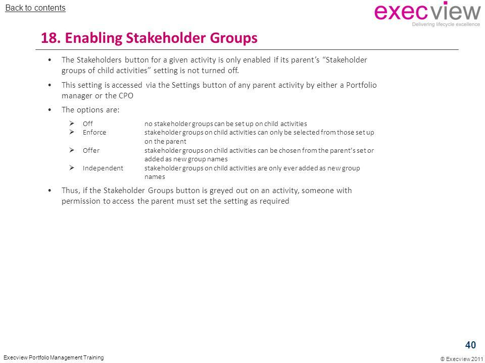 18. Enabling Stakeholder Groups