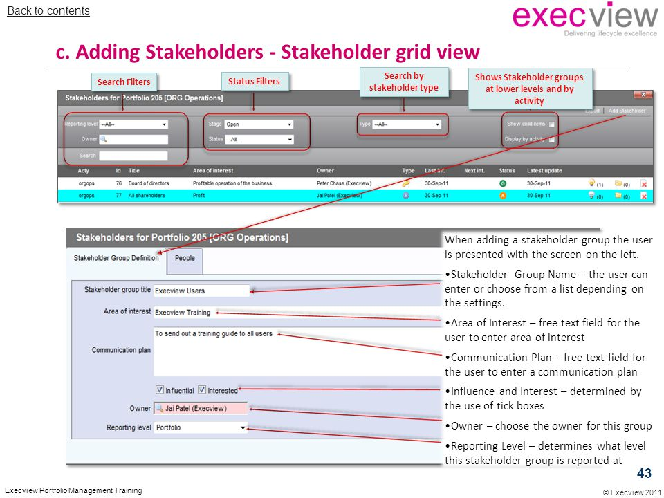 c. Adding Stakeholders - Stakeholder grid view