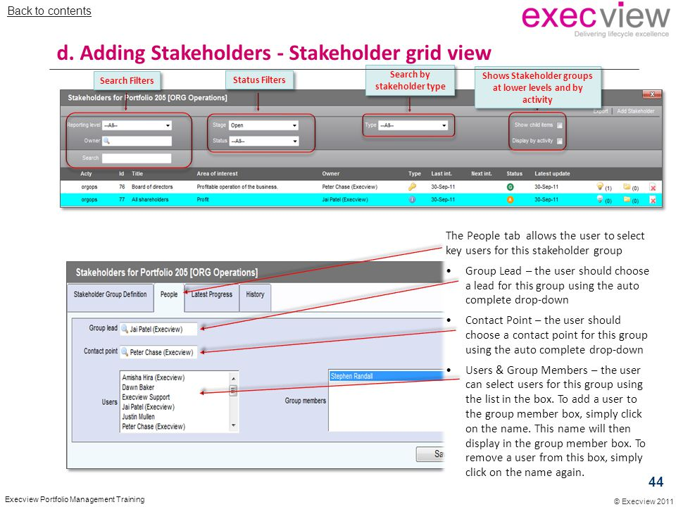 d. Adding Stakeholders - Stakeholder grid view