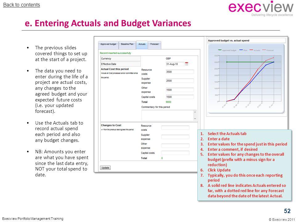 e. Entering Actuals and Budget Variances