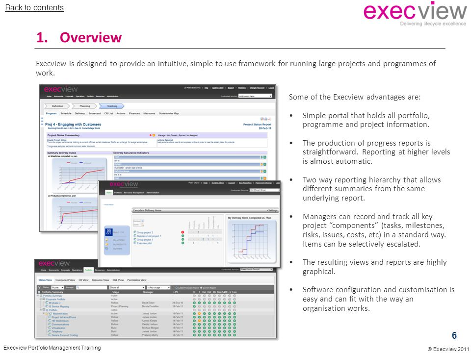 Back to contents Overview. Execview is designed to provide an intuitive, simple to use framework for running large projects and programmes of work.