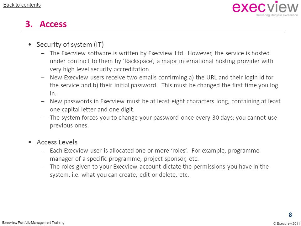 3. Access Security of system (IT) Access Levels