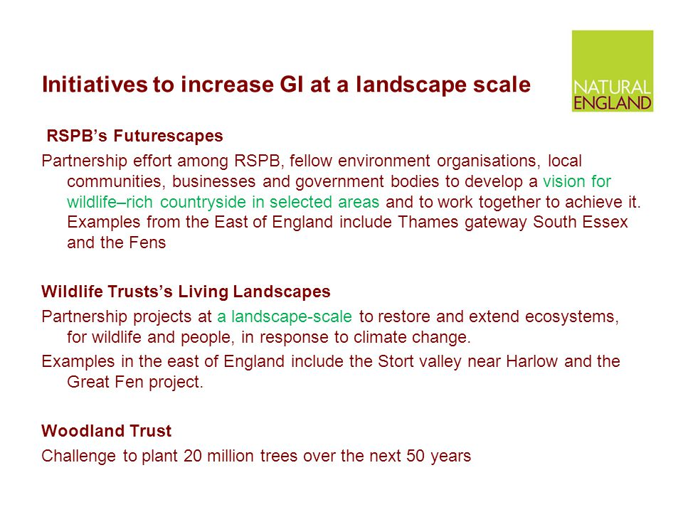 Initiatives to increase GI at a landscape scale