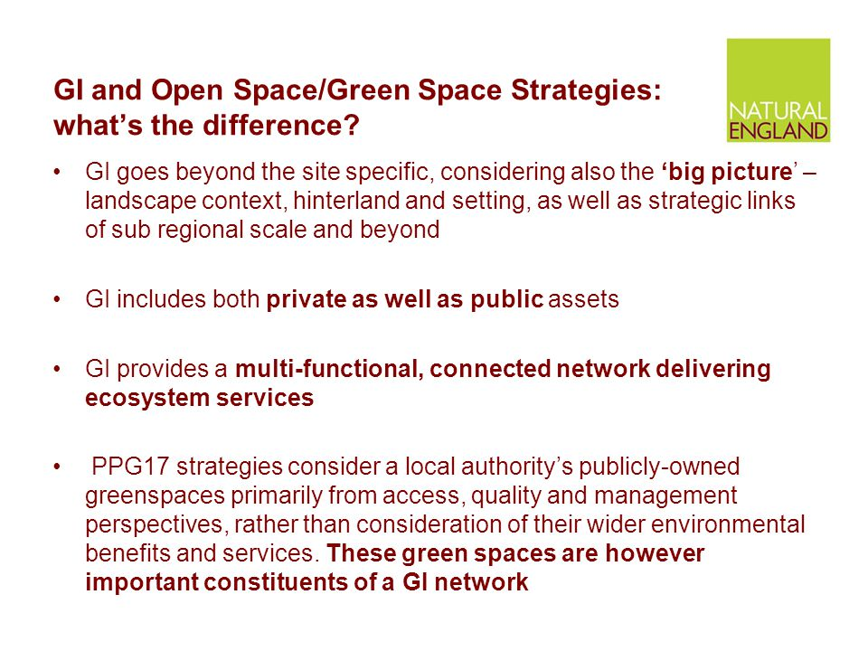 GI and Open Space/Green Space Strategies: what's the difference