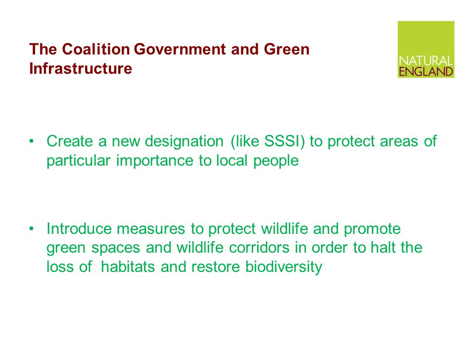 The Coalition Government and Green Infrastructure