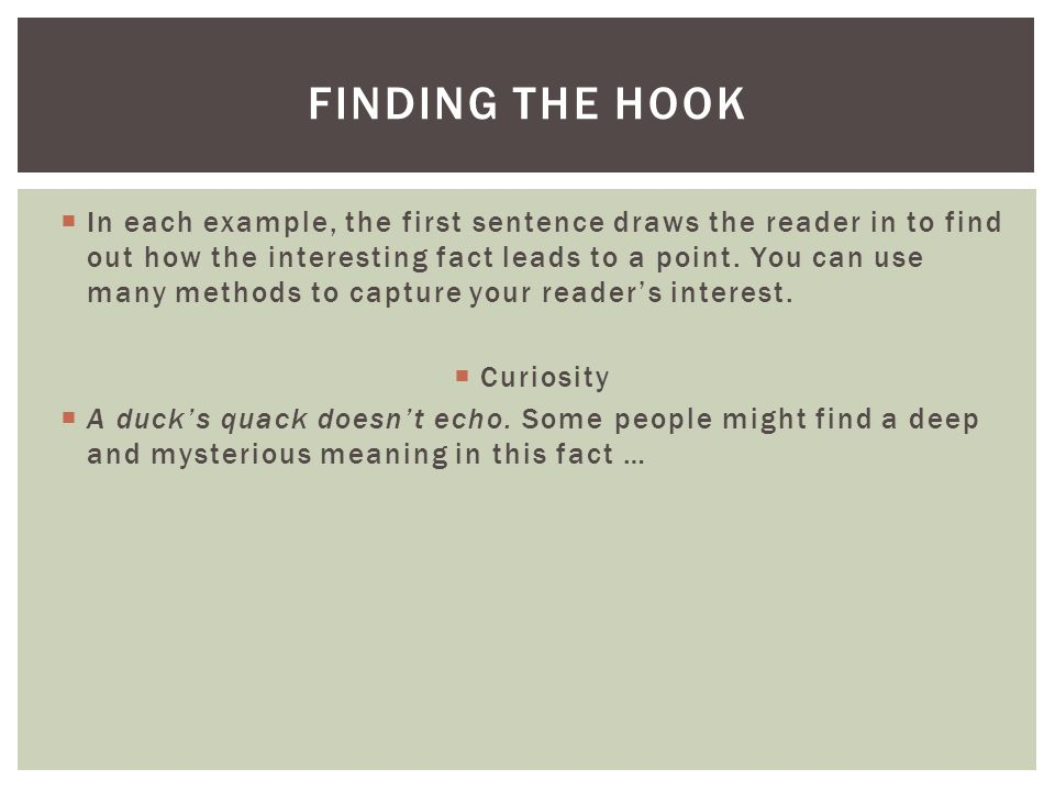 FINDING THE HOOK