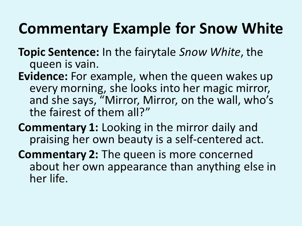 Commentary Example for Snow White