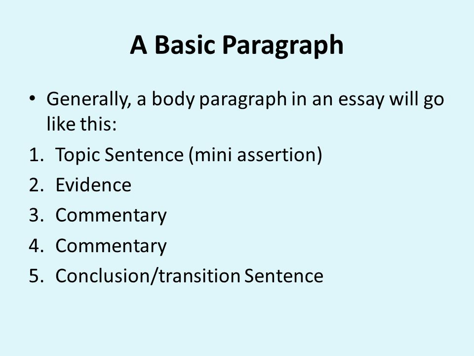 A Basic Paragraph Generally, a body paragraph in an essay will go like this: Topic Sentence (mini assertion)
