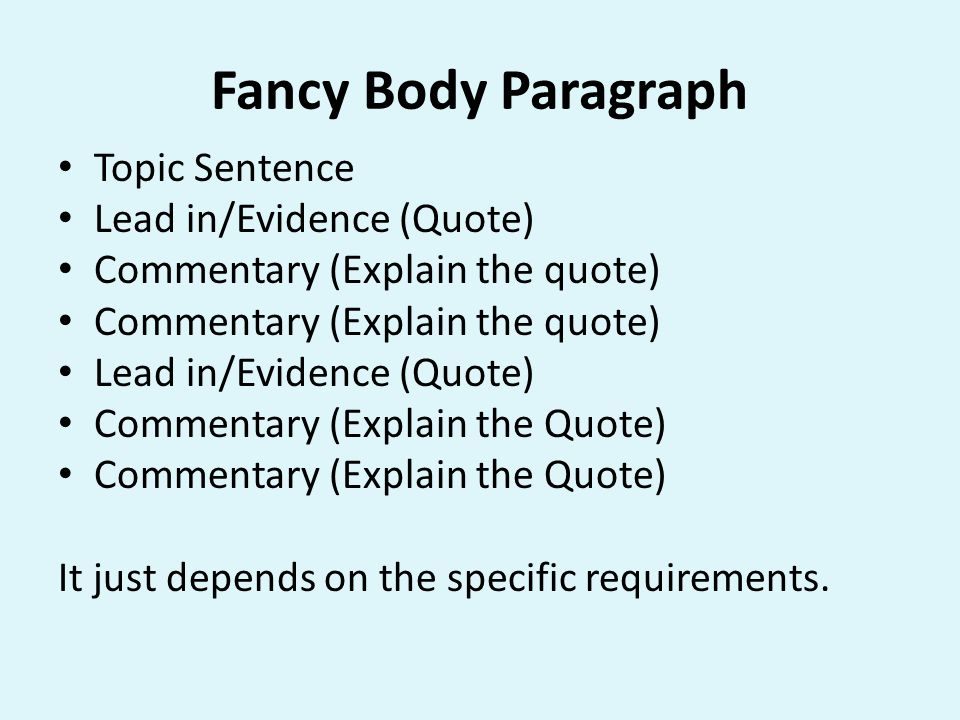 Fancy Body Paragraph Topic Sentence Lead in/Evidence (Quote)