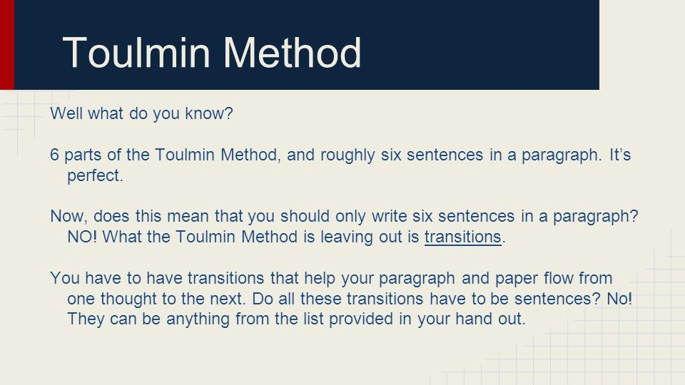 Toulmin Method Well what do you know
