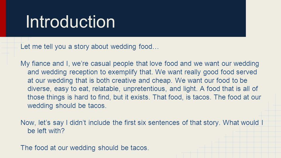 Introduction Let me tell you a story about wedding food…