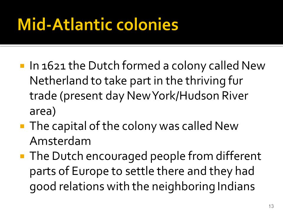 Mid-Atlantic colonies